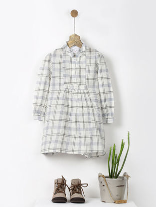 Ivory-Grey Checkered Cotton Shirt Dress with Pocket