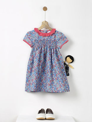 Blue-Red Floral Print Smock Cotton Dress