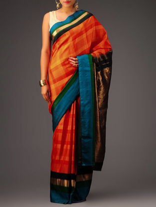 Orange-Red Kanchipuram Silk Saree