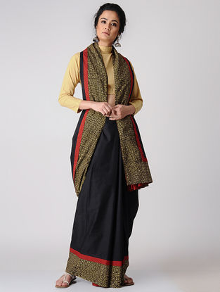 Black-Mustard Constructed Natural-dyed Cotton Saree with Ajrakh Border