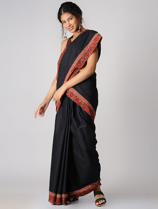 Black-Madder Constructed Natural-dyed Cotton Saree with Ajrakh Border