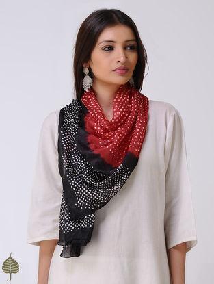 Red-Black Bandhani Silk Stole