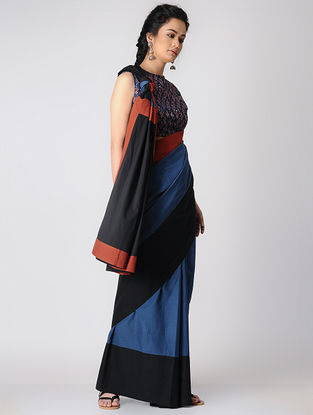 Black-Indigo Constructed Natural-dyed Cotton Saree by Jaypore