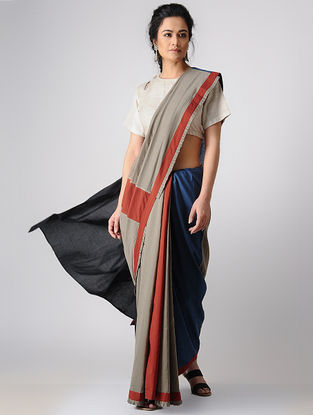 Taupe-Black Constructed Natural-dyed Cotton Saree by Jaypore