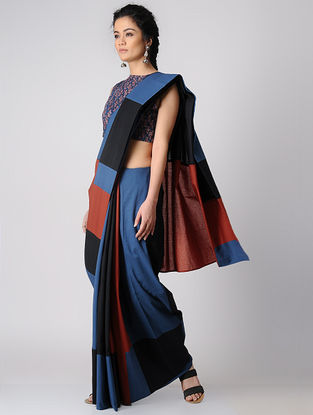 Indigo-Madder Constructed Natural-dyed Cotton Saree by Jaypore