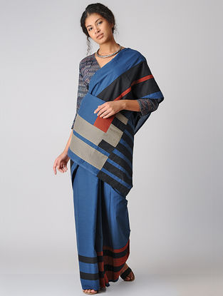 Indigo-Black Constructed Natural-dyed Cotton Saree by Jaypore