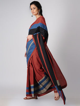 Madder-Black Constructed Natural-dyed Cotton Saree by Jaypore