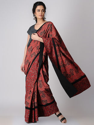Madder Constructed Ajrakh Natural-dyed Cotton Saree by Jaypore