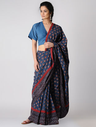 Indigo Constructed Ajrakh Natural-dyed Cotton Saree by Jaypore