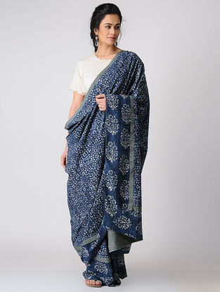 Indigo Constructed Bagru Natural-dyed Cotton Saree by Jaypore