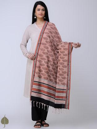 Beige-Madder Block-printed Cotton Dupatta by Jaypore