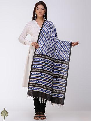 Indigo-Black Natural-dyed Bagru-printed Cotton Dupatta by Jaypore
