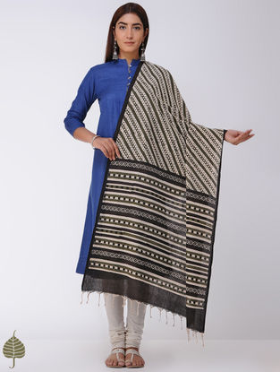 Olive-Black Natural-dyed Bagru-printed Cotton Dupatta by Jaypore