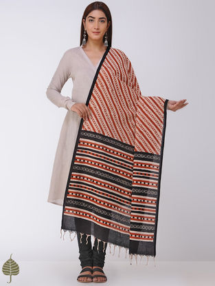 Madder-Black Natural-dyed Bagru-printed Cotton Dupatta by Jaypore
