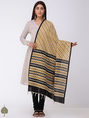 Mustard-Black Natural-dyed Bagru-printed Cotton Dupatta by Jaypore