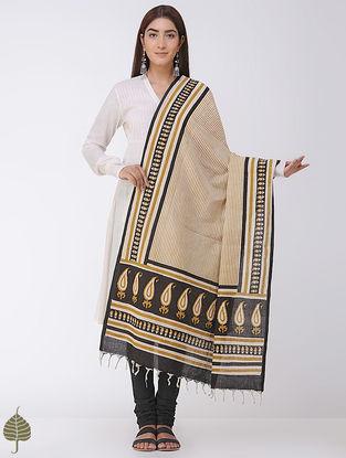 Mustard-Black Natural-dyed Bagru-printed Cotton Dupatta by Jaypore