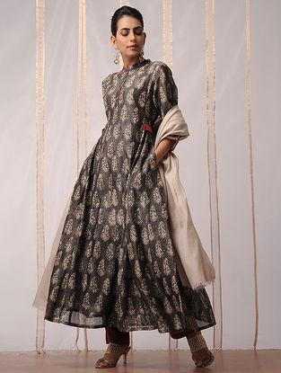 Kashish-Ivory Dabu-printed Chanderi Kurta with Cotton Slip by Jaypore