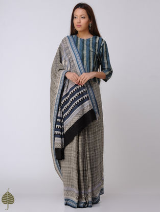 Beige-Indigo Block-printed Syahi Begar Cotton Khadi Saree by Jaypore
