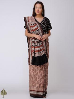 Beige-Madder Block-printed Syahi Begar Cotton Khadi Saree by Jaypore