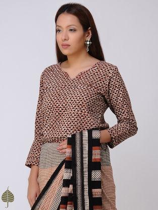 Beige-Madder Dabu Tie-up Cotton Blouse by Jaypore