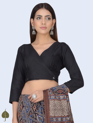 Black Cotton Blouse with Front Buttons by Jaypore