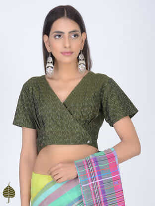 Green Ikat Cotton Blouse with Front Buttons by Jaypore