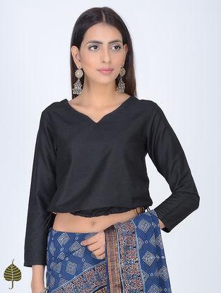 Black Tie-Up Cotton Blouse by Jaypore