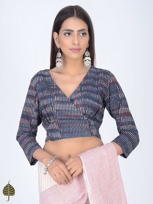 Indigo-Ivory Block-printed Cotton Blouse with Front Buttons by Jaypore