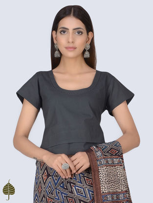 Charcoal Natural Dyed Kantha-embroidered Cotton Blouse by Jaypore