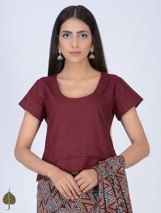 Maroon Kantha-embroidered Khadi Blouse by Jaypore