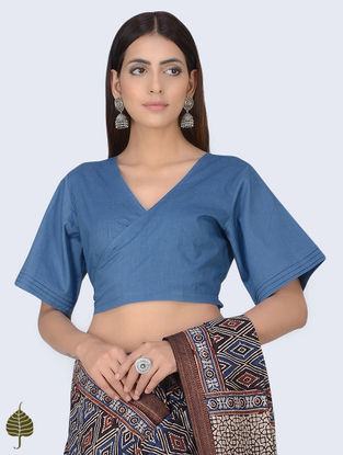 Indigo Natural Dyed Cotton Tie-Up Blouse by Jaypore