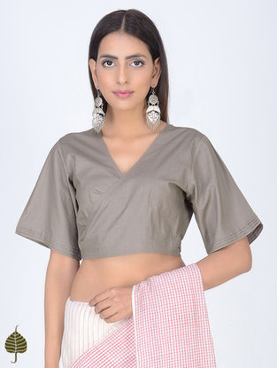 Grey Natural Dyed Cotton Tie-Up Blouse by Jaypore