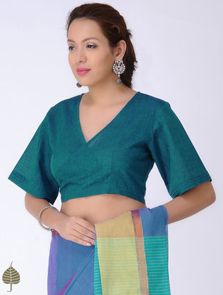 Teal Tie-up Cotton Blouse by Jaypore