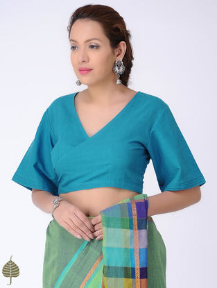 Blue Tie-up Cotton Blouse by Jaypore