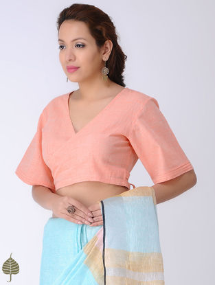 Peach Tie-up Cotton Blouse by Jaypore