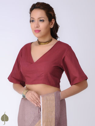 Maroon Tie-up Cotton Blouse by Jaypore