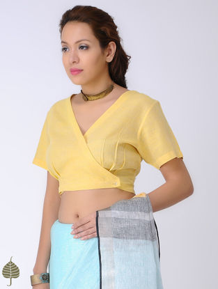 Yellow Cotton Blouse with Buttons by Jaypore