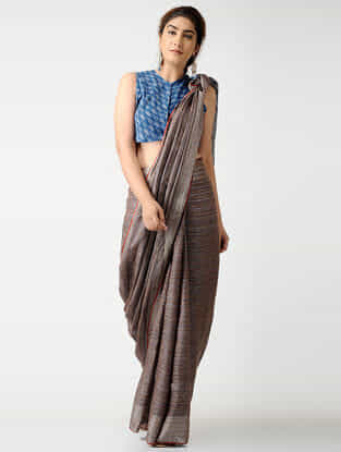 Blue Handloom Cotton Ikat Blouse by Jaypore