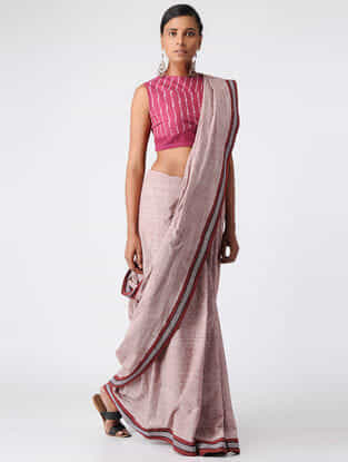 Pink Handloom Cotton Ikat Blouse by Jaypore