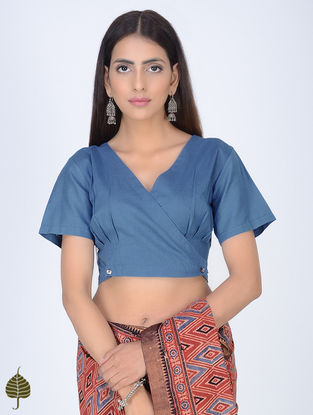 Indigo Natural Dyed Cotton Blouse with Front Buttons by Jaypore
