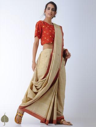 Orange-Yellow Bandhni Cotton Blouse by Jaypore
