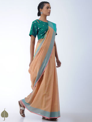 Green-Pink Bandhni Cotton Blouse by Jaypore