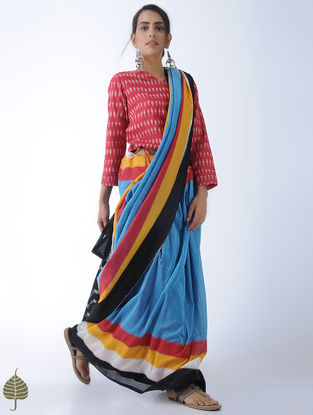 Red Tie-Up Waist Ikat Cotton Blouse by Jaypore