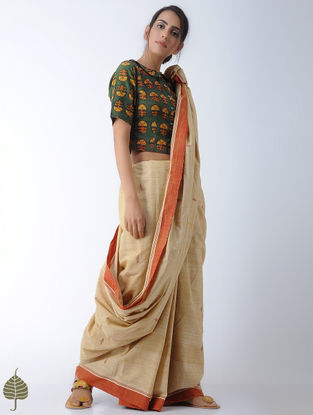 Green-Yellow Ajrakh-printed Cotton Blouse by Jaypore
