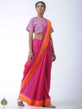 Pink-White Cotton Blouse by Jaypore