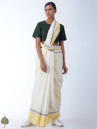 Green Handloom Cotton Blouse by Jaypore