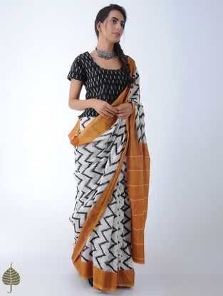 Black Ikat Cotton Blouse by Jaypore