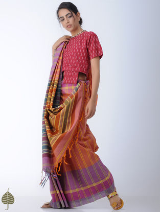 Red-Ivory Ikat Cotton Blouse by Jaypore