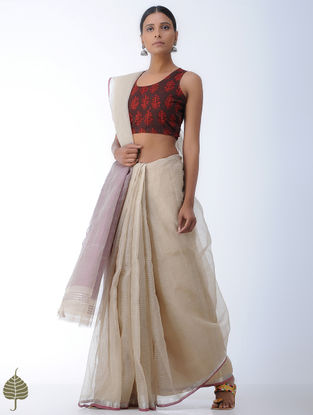 Brown-Rust Ajrakh-printed Cotton Blouse by Jaypore