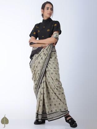 Black-Yellow Bandhni Cotton Blouse by Jaypore